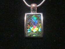 Silver Tone Pendant Necklace Vintage Kenneth Cole Multi Color Prism