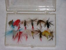 Fishing Flies, Hand Crafted, 13 assorted in original box, Vintage (1970s), Usa