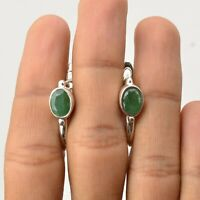 Handmade 925 Solid Sterling Silver Indian Jewelry Emerald Gemstone Stud Earrings