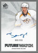 11/12 SP Authentic Future Watch Auto RC Jonathon Blum /999 236 Predators