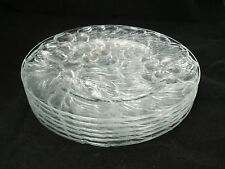 "Kig VINTAGE Clear Set of 6-7 1/4"" Salad Dessert Plates Embossed Pressed Grape"