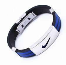 BLUE ONE Stainless Steel Nike Sports Silicone Wristband Bracelet