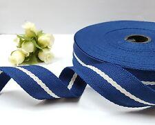 "Dk Blue (near blk) or Navy Blue w/White Stripe Ribbon Twill Tape 1"" 2.5 cm TR3"