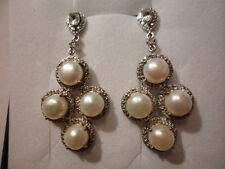 White Freshwater Pearl Dangle Earrings w/White Topaz Accents in Platinum Overlay