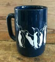 Vtg Otagiri Etched Antarctica Penguins Coffee Mug Cup Navy Ceramic Stoneware