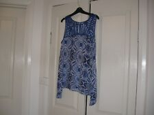 Ladies Top Size 10 Colour Royal Blue & White , Design  Katies  No Sleeves Viscoe