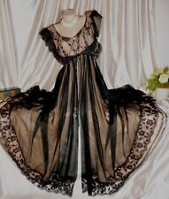 """USA M Claire Sandra Lucie Ann Black Nude Negligee 1950's 200"""" Sweep"""