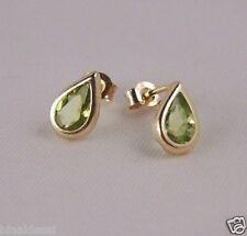 Girls Ladies 9ct Gold Small Teardrop Green Peridot Studs Earrings B'day GIFT BOX