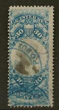 UNITED STATES REVENUE :  1871 30c Inter-Rev   Scott # R113  blue-handstamp