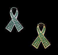 CRYSTAL EMERALD GREEN RIBBON BOW LIVER CANCER AWARENESS BROOCH PIN