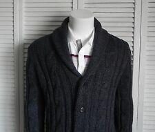NEW Mens SIZE 2XL ALPACA Dark Gray Shawl Collar Cable Cardigan Knit Sweater PERU