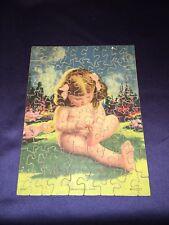 """Antique C1930 Wooden Jigsaw Puzzle """"Dimples Sun Bath"""" Cute Little Girl 75pc"""