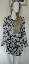Topshop - Multi Floral Long Sleeved Collared Dress Size 10 Uk Euro 38 polycotton