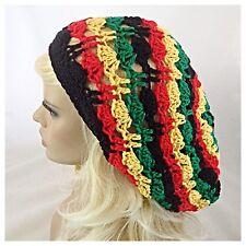 Handmade EXTRA BAGGIE SLOUCHY Beanie Hat RASTA JAMAICAN Red Green Yellow Black