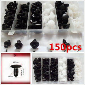 150pcs 6 Sizes Car Autos Body Retainer Push Pin Rivet Clip Mouldings Trim Panel