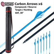 """6x Carbon Arrows 60#, 30"""" with Adjustable Case for Target & Hunting Archery"""