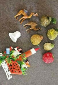9 pc Old Christmas Decorations