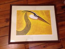 Heron Bird Yellow Artist Proof Catlin Cobb Framed Matted Art Ltd Edition Print