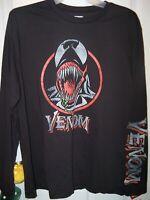 Venom Marvel Comics Black Long Sleeve Shirt Mens Size Large NWT