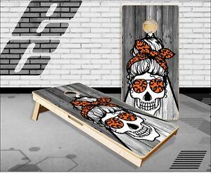 Mom Skull Wood Orange Cornhole Boards Bean Bag Toss Game