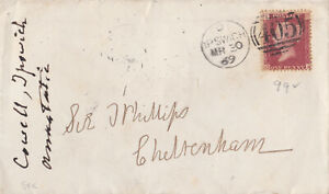 1869 QV IPSWICH COVER WITH A FINE 1d PENNY RED STAMP PLATE 99 ~ 99p START!
