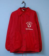 Vintage Champion Coach Jacket Red Fleece Lining Retro Bomber Windbreaker Small