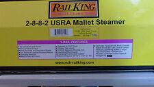 MTH RailKing Pennsylvania 2-8-8-2 USRA Mallet Steamer  #30-1156-1 Cab #373