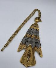 Vintage 1970's Totem Pole Bird Necklace Gold Silver Tone Brutalist Med Century