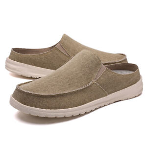 Mens Canvas Loafers Round Toe Flat Slip On Half Slipper Casual Shoes Comfortable