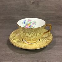 Eidenger's Derby Bone China Tea Cup & Saucer Gold Pale Yellow Floral CHARMING