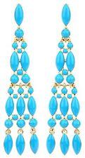 Zest Tiered Pyramid Drop Earrings for Pierced Ears Turquoise Blue