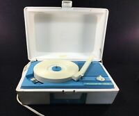 VINTAGE WORKING BLUE AND WHITE CONCERT HALL PORTABLE RECORD PLAYER 33 & 45 RPM