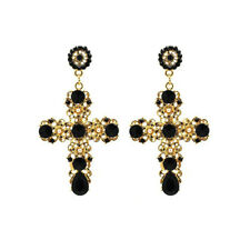 Vintage Women Gold Cross Crystal Rhinestone Luxury Long Dangle Earrings Jewelry
