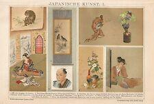 B0207 Arte Giapponese - Cromolitografia d'epoca - 1902 Vintage print