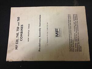 MASSEY FERGUSON MF COMBINE NEW PROFILE TABLE BOOK 520 740 750 760 PRE DELIVERY