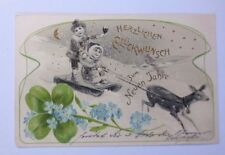 """Neujahr, Kinder, Schlitten Kleeblatt, Rehe, Jugendstil"" 1903, Golddruck♥(53124)"
