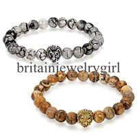 Men Women Fashion Spot Stone Picture Jasper Beaded Stretch Lion Head Bracelet