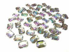 50 13x18mm SEW ON AB Clear Faceted RECTANGLE Acrylic DIAMANTE Rhinestone Gems