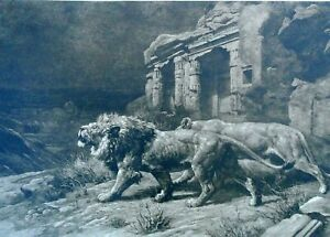 "Herbert Dicksee - 1909 Original Etching ""Lions Before the Temple Ruins"" - Signed"