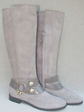 NEW NWB ALEXANDER MCQUEEN  GREY SUEDE & LEATHER TALL BOOT w/ SKULL RING SZ  38