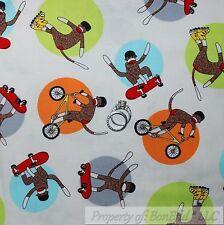 BonEful Fabric FQ Cotton Quilt White Red Brown Sock Monkey Stripe Sport Boy Baby