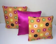 square pillows small hot pink orange floral girls room decor barbie pillows 7x7
