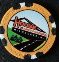 HOUSE OF  HARLEY~Wisconsin(Orange/Black) Harley Poker Chip Full Color Wide Print