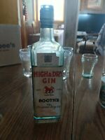 BOOTH'S HIGH & DRY GIN EMB LION WITH ORIGINAL LABEL & GLASS STOPPER