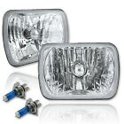 7x6 Crystal Clear Glass Lens Metal Headlight H4 Halogen Light Bulb Headlamp Pair
