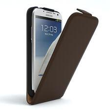 Tasche für Samsung Galaxy Note 2 Flip Case Schutz Hülle Cover Braun