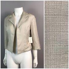 Vintage NOS 1960s Ivory Cropped Open Front Jacket Cropped Blazer Coat Unworn S