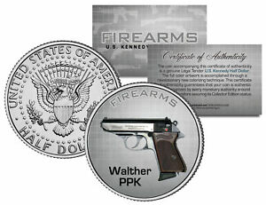 WALTHER PPK Gun Firearm Weapon JFK Kennedy Half Dollar US Colorized Coin