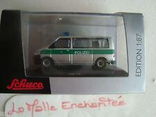 MINIATURE MODELISME FERROVIAIRE VW T5 POLIZEI POLICE 1/87 HO 5 CM LONG SCHUCO