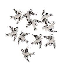 10pcs Birds Alloy Beads Charms Tibetan Silver Pendant DIY Bracelet 21*16mm